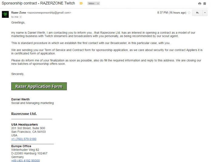 Oszuści podszywają się pod markę Razer i rozsyłają złośliwe maile