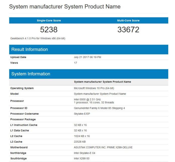 Intel Core i9-7960X na pierwszych benchmarkach w Geekbench 1