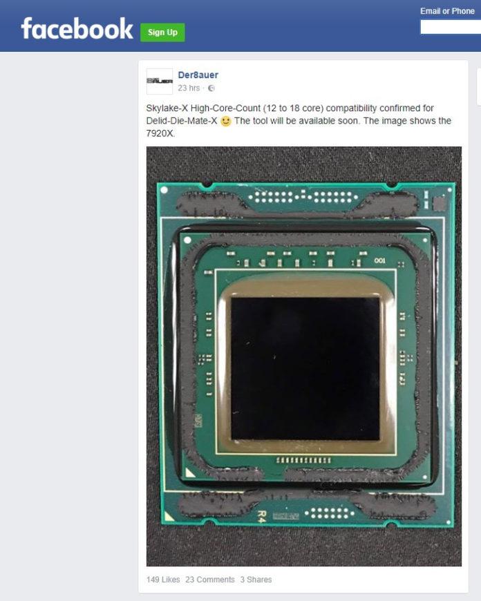 Core i9-7920X - wpis na FB der8auer
