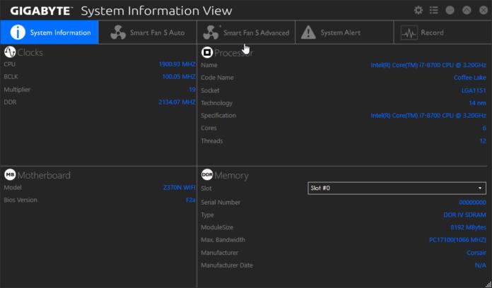 Gigabyte System Information View