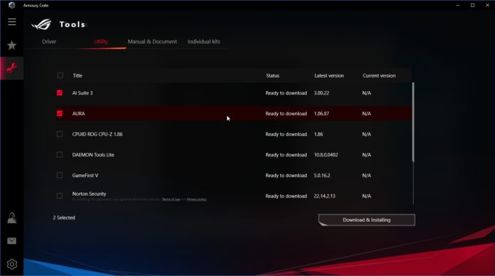 ASUS ROG STRIX Z390-I GAMING - Armoury Crate