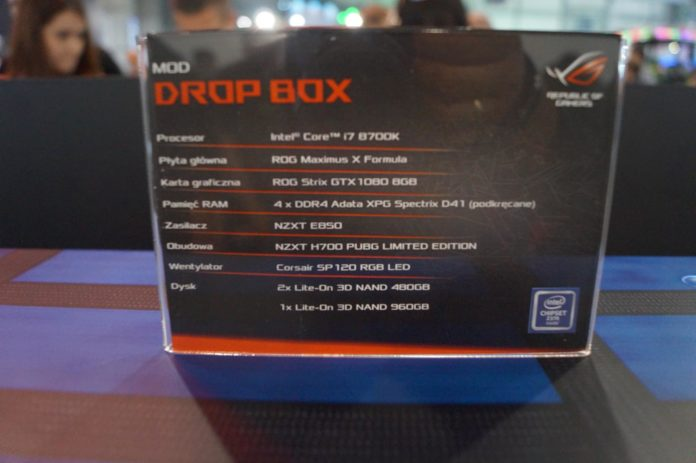 Poznań Game Arena 2018 - komputer Drop Box