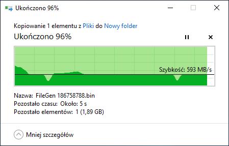WD Blue SN500 500 GB - kopiowanie 50 GB pliku