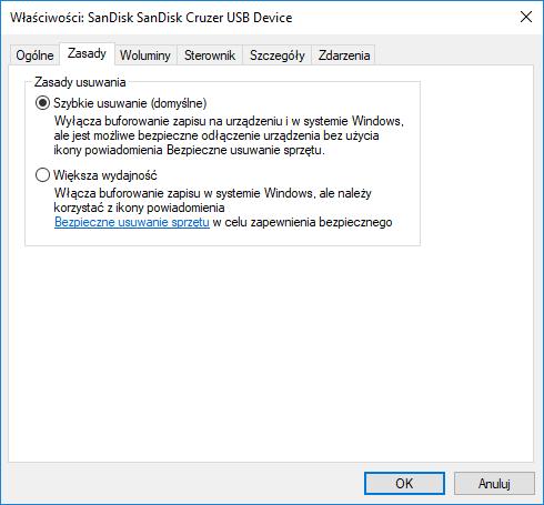 Windows 10 i nowa polityka bezpiecznego usuwania sprzętu USB
