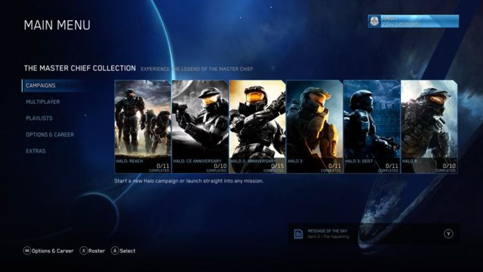 Halo: The Master Chief Collection - Xbox Menu