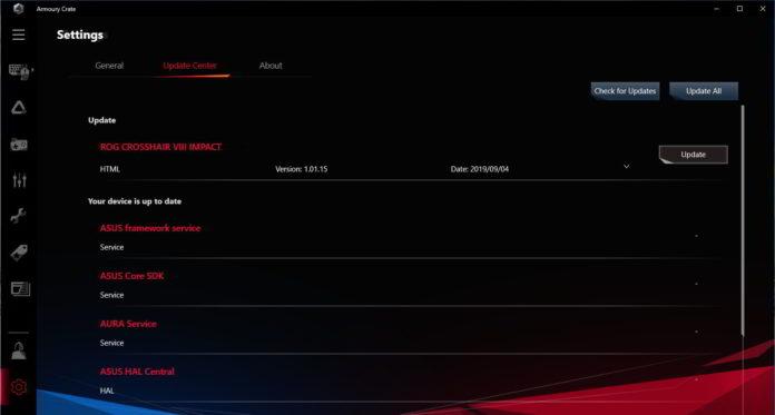 ASUS ROG Crosshair VIII Impact - Armoury Crate - Update