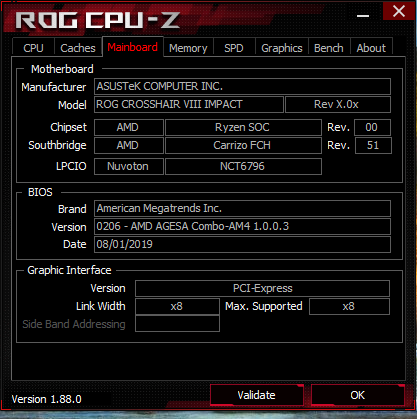 ASUS ROG Crosshair VIII Impact - CPU-Z