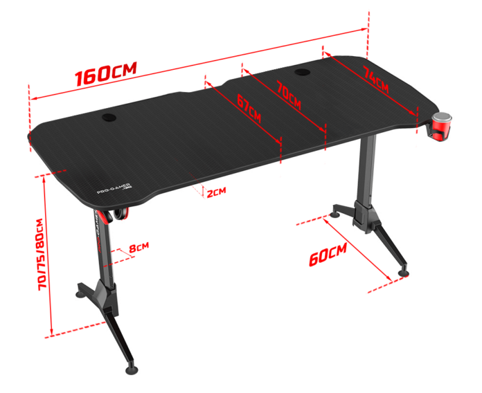 Pro-Gamer D6000 XXL - nowoczesne i przestrzenne biurko dla graczy 3
