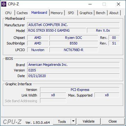 ASUS ROG Strix B550-I Gaming - CPU-Z