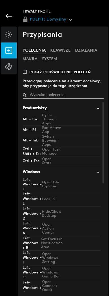 Logitech G915 - Oprogramowanie G HUB